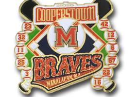 Cooperstown die struck pin, with red glitter