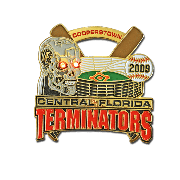 Cooperstown baseball pin, with 2 blinkies, add trading power